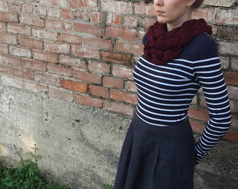 Burgundy Double-Braid Cowl