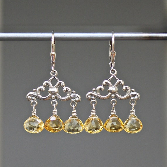 Citrine Earrings - Bali Silver Earrings - Chandelier Earrings - Yellow Citrine - Wire Wrapped Earrings - Citrine and Silver - Jewelry Gift