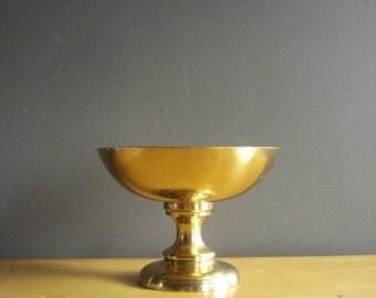 Small Brass Pedestal Bowl - Vintage Brass Pedestal Flower Bowl or Catchall