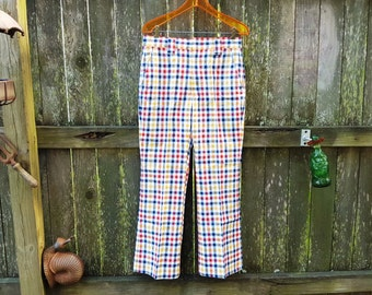 Mens 70s Plaid Pants, 70s Pants by Haggar, 70s Costume, Mens Vintage Pants, Hipster Pants Waist 31