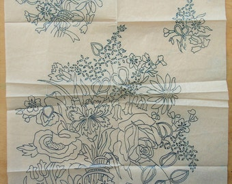Bestway No D1708 - Large Sheet of Vintage Floral Iron On Embroidery Transfers - Bouquet of Flowers - Floral Transfer Pattern