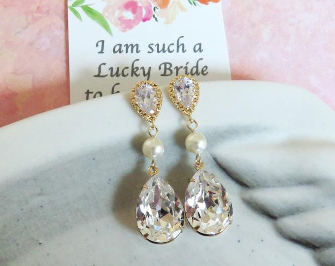 Reine - Champagne Gold Swarovski Crystal Earrings, Pearl earrings, gifts for her, sparkly earrings, weddings, bridal, bridesmaid earrings