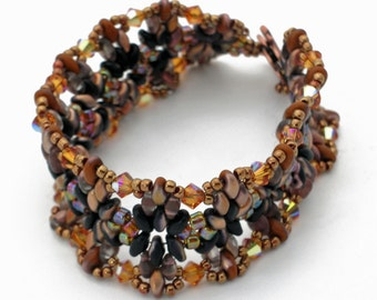 """Brown and Amber SuperDuo Woven """"Annelie's"""" Bracelet"""