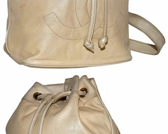 "CHANEL Paris Lambskin Leather 12"" Inch Drawstring Bucket Tote Handbag With Jumbo Cc Logo Shoulder Bag"