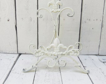 White Easel, Metal Easel, Book Stand, Art Prop, Shabby and Chic, Fleur De Lis, Parisian Chic, Cottage Chic, French Country Decor