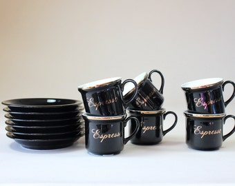 Villaware Espresso Demitasse, Cups & Saucers Set, Black White, Gold Trim, Tea Cup Set, Coffee Cups,Italian Kitchenware Made In Japan