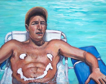 Billy Madison - Suntan Lotion is Good For Me - Adam Sandler Painting Print - 1990s Throwback Movie Print - Pop-Culture - 5x7 8x10 11x14