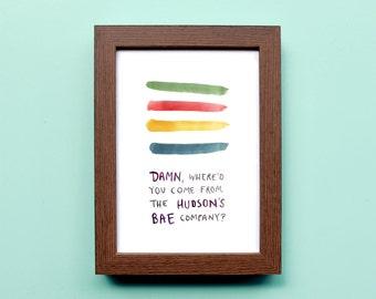 Hudsons Bae Company - Watercolor Illustration Print - Hudsons Bay Stripes - 5x7 8x10 11x14