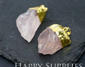 1pcs Golden Brass Irregular Rose Quartz Crystal Pendant for Necklace Making / Gemstone Charms Wholesale (GM007)