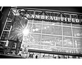 "BIG 20""x30"" vince lombardi green bay packers coach nfl football wisconsin labeau field black and white travel poster photo-graphic art print"