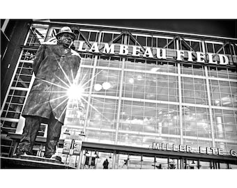 """BIG 20""""x30"""" vince lombardi green bay packers coach nfl football wisconsin labeau field black and white travel poster photo-graphic art print"""