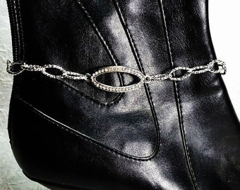 Rhodium and Crystal Boot Candee Boot Bracelet