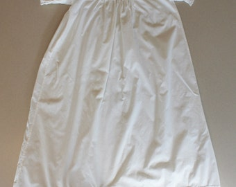 Vintage White Cotton and Lace Baby's Christening or Baptismal Long Dress