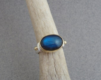 Labradorite Ring in 18k Gold and Sterling, Deep Cobalt Blue Stone Ring