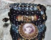 Black heart gypsy photo image bead charm wrap bracelet Pamelia Designs