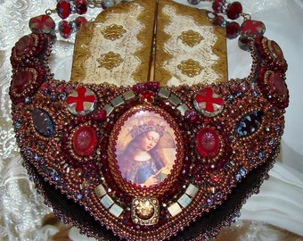Mary's crown bead embroidery collar necklace sacred jewelry pamelia designs