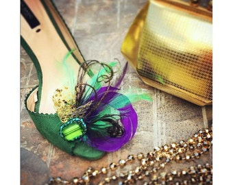 Wedding Shoe Clips. Mardi Gras Golden Gold Purple & Green Feathers. Bride Bridal Bridesmaid. Gift Clip. Emerald Glass Beads. Masquerade Date