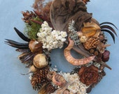Pinecone Driftwood and Dried Seed Pod Wall or Door Wreath–PW71
