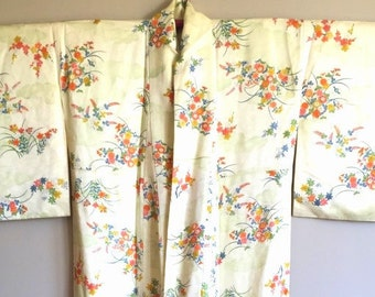 SALE 1970s KIMONO BOHO Japanese Floral Duster with Cherry Blossom Motif