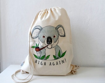 Cotton Backpack,  Koala bag, Canvas Tote, Koala Tote, Koala bag, drawstring backpack