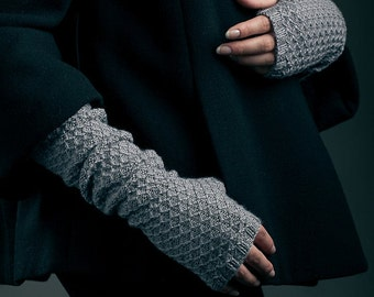 Knitted Fingerless, Cashmere Merino wool blended, Gloves, Grey , Gray, Women Fingerless, Grey Fingerless, Long Arm Warmer, Gift For Her