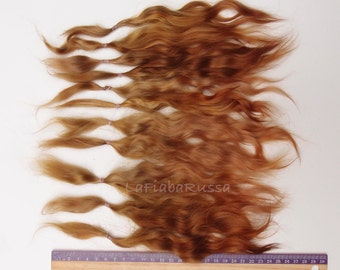 Brown shades Doll Hair extra long 8-10 in Combed Mohair goat/  reroot Blythe, pukifee, reborn, waldorf, pullip, neemo, bjd, doll wig