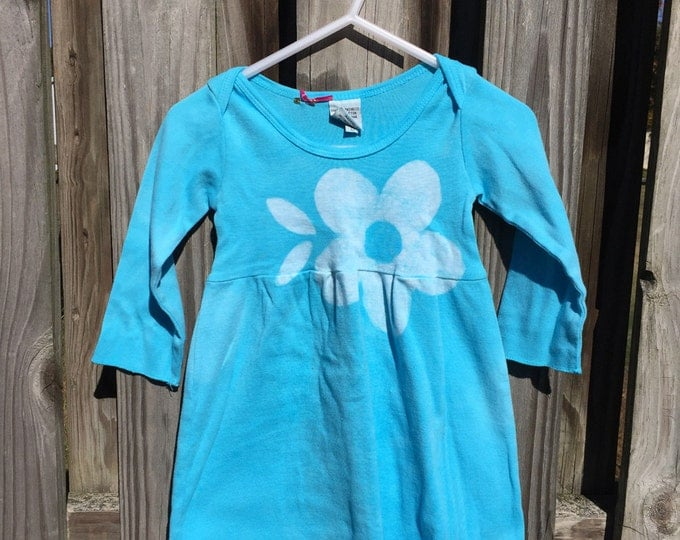 Flower Baby Dress, Light Blue Baby Girls Dress, Flower Girls Dress, Turquoise Baby Dress, Baby Girl Gift, Easter Sunday Dress (6 months)