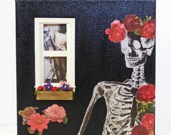 Gothic Wall Art - Skeleton Canvas Art - Gothic Home Decor - Mixed Media Canvas - Dark Home Decor