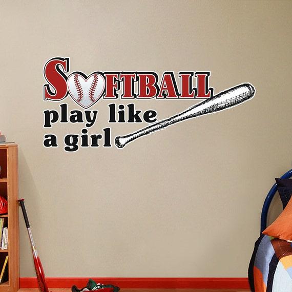 softball play like a girl kids room bedroom sports wall decals