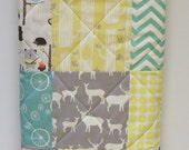 Baby Quilt-Gender Neutral-Woodland Animal Baby Bedding-Rustic Birch Fabrics Crib Blanket-Grey-Aqua-Yellow-Deer-Ellie-Raccoon-Chevron Quilt