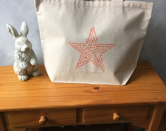 """CLEARANCE - Star of Hope - Orange Ink on a Natural Carryall Tote - cotton canvas - Americana - LAST ONE -  More info in """"Item Details"""""""