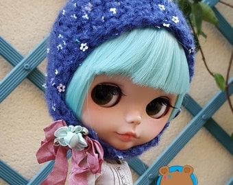 Sequined sequins paillettes hat for Neo Blythe made in mohair