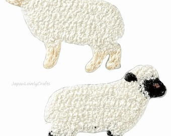 2 White Sheep Embroidered Iron On Patch, Japanese Iron on Applique, Made in Japan, Cute Animal Embroidery Applique, Sewing Accessories, W057