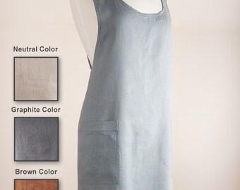Crisscrossed Japanese style apron 100% Linen  Softened Apron/Pinafore.