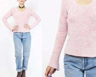 90s Chenille Sweater Grunge Baby Pink Sweater Plush Soft Fuzzy Sweater Light Pink Fitted V Neck Sweater Long Sleeve Jumper Pullover (S/M)