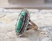 Signed Navajo George Begay ring size 5.75 with Carico Lake turquoise sterling silver, vintage small Native American Indian ring, Old Pawn
