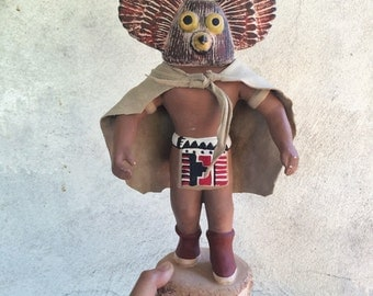 "Vintage 15"" tall Owl Kachina dancer craft pottery with leather cape, ceramic figurine statue Native American kachina dancer, Southwest decor"