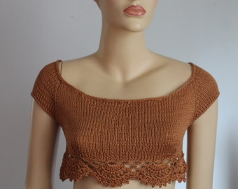 Gold Cotton  Hand Knit  Crochet Cropped Sweater Tank Top Shrug Summer Women , Crochet crop top - Ready to ship