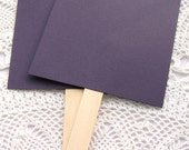20 ct. Pre-Assembled Dark Plum Blank DIY Wedding Program Cardstock Fans with Wooden Handles - 5-1/2 x 9""