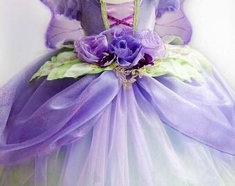 FAIRY DRESS -- Lilac Purple Fairy Princess Custom dress for girls, purple & green fairy costume, kids fantasy fairy gown, purple pixie dress