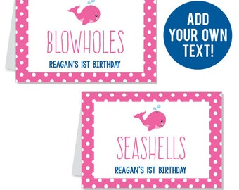 INSTANT DOWNLOAD Pink Whale Party Buffet Cards - EDITABLE Printable File