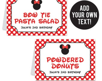 INSTANT DOWNLOAD Red Minnie Mouse Party Buffet Cards - EDITABLE Printable File