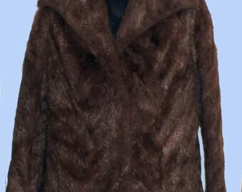 Exquisite Women's Vintage Natural Brown Beaver Fur Jacket     Sz 12