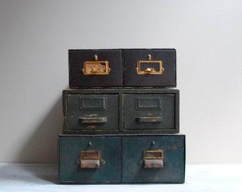 Vintage Card Catalog Drawer Box - Brown Metal