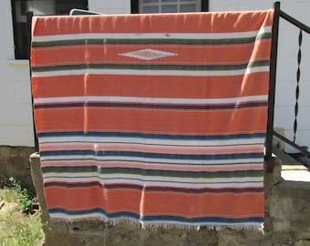 "Vintage Large 85"" x 61"" Mexican Serape Saltillo Hand Woven Blanket ~ Southwest Style ~ Hacienda Decor ~ Rustic Decor ~"