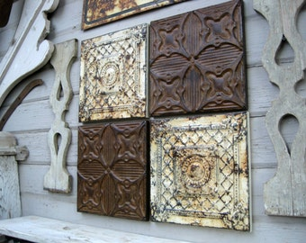 Rustic wall decor, Antique Architectural Salvage, 4) 1'x1' Ceiling Tin Tiles, Farmhouse decor, Chippy Paint, Vintage Frames Home Decor