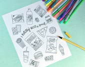 Printable JUNK FOOD Coloring Page!- Digital File Instant Download-treats, fast food, chips, soda, fries, chocolate, cookies, adult coloring