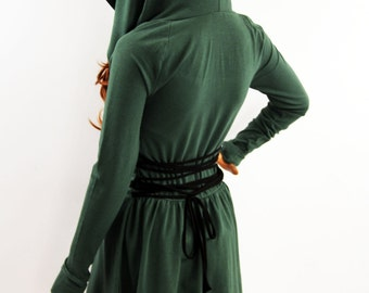 Dress / Green Dress / Hooded Dress / Party Dress / Long Sleeve Dress / Women Green Dress