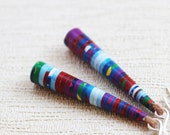 Exotic Orchid Earrings - First wedding anniversary gift - Paper jewelry - Paper bead earrings - Long earrings - Colorful jewelry