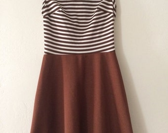 Vintage 70s Mad Men Scooter Mod Retro mini dress Brown Cream Stripes